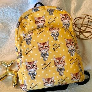 🐱Betsey Johnson Mustard Yellow Gold Cat Backpack